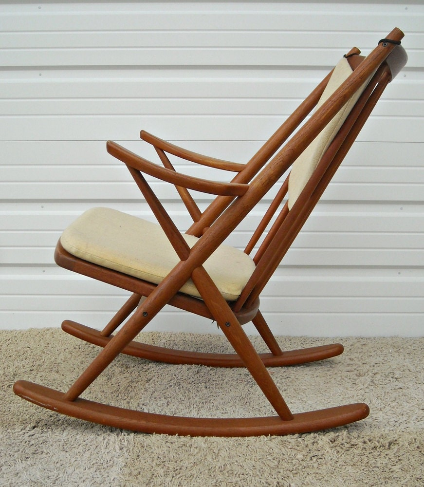 rocker rocking chair mid century reenskaugh danish modern teak sale