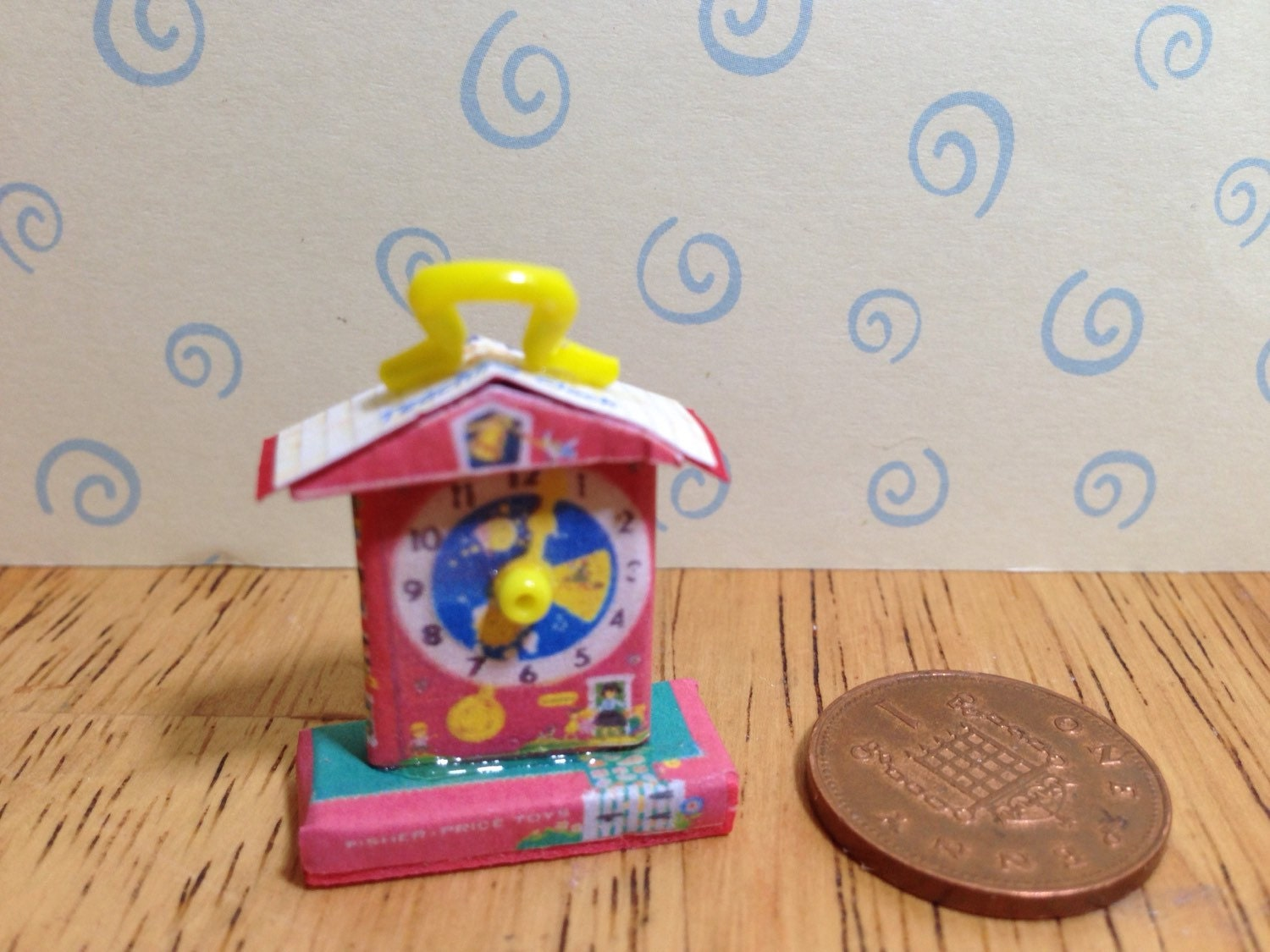 Hand made Dolls house Miniature replica vintage fisher price teaching clock 112 scale