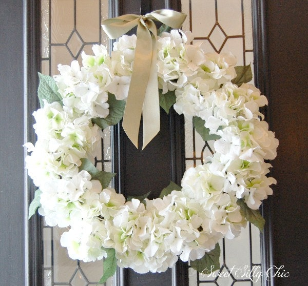 white hydrangea wreath winter spring front door by