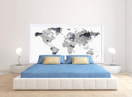 Image du produit Tte de lit adhsif mural mappemonde effet textur