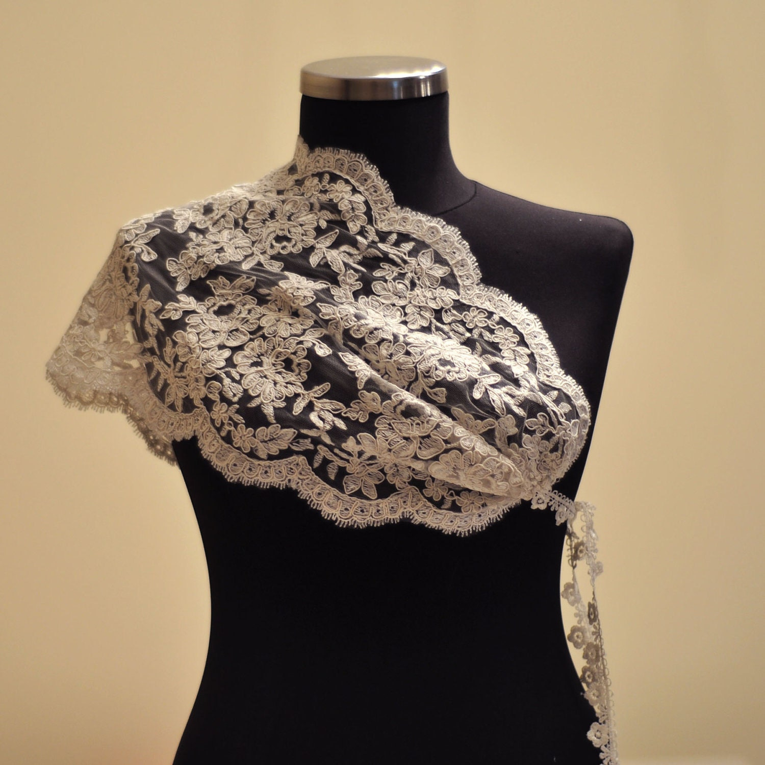 French Lace Ivory Bridal Butterfly Shrug From trendyknitting