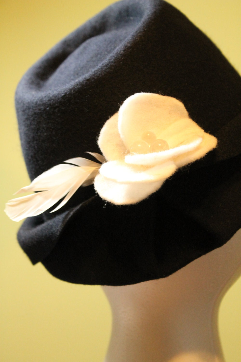 Navy Blue Hand Blocked Wool Fedora Inspired Hat with Feathers & Handmade Flower (One-of-a-Kind)