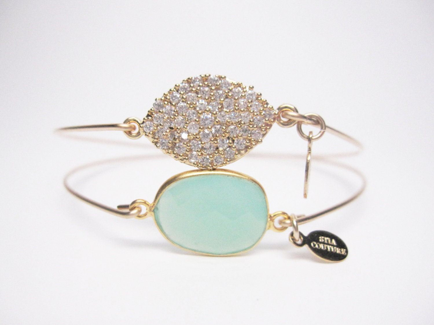 14K Gold Filled Chrysoprase Bangle Bracelet - Magical Sophistication set - Tiffany Blue - STIACOUTURE