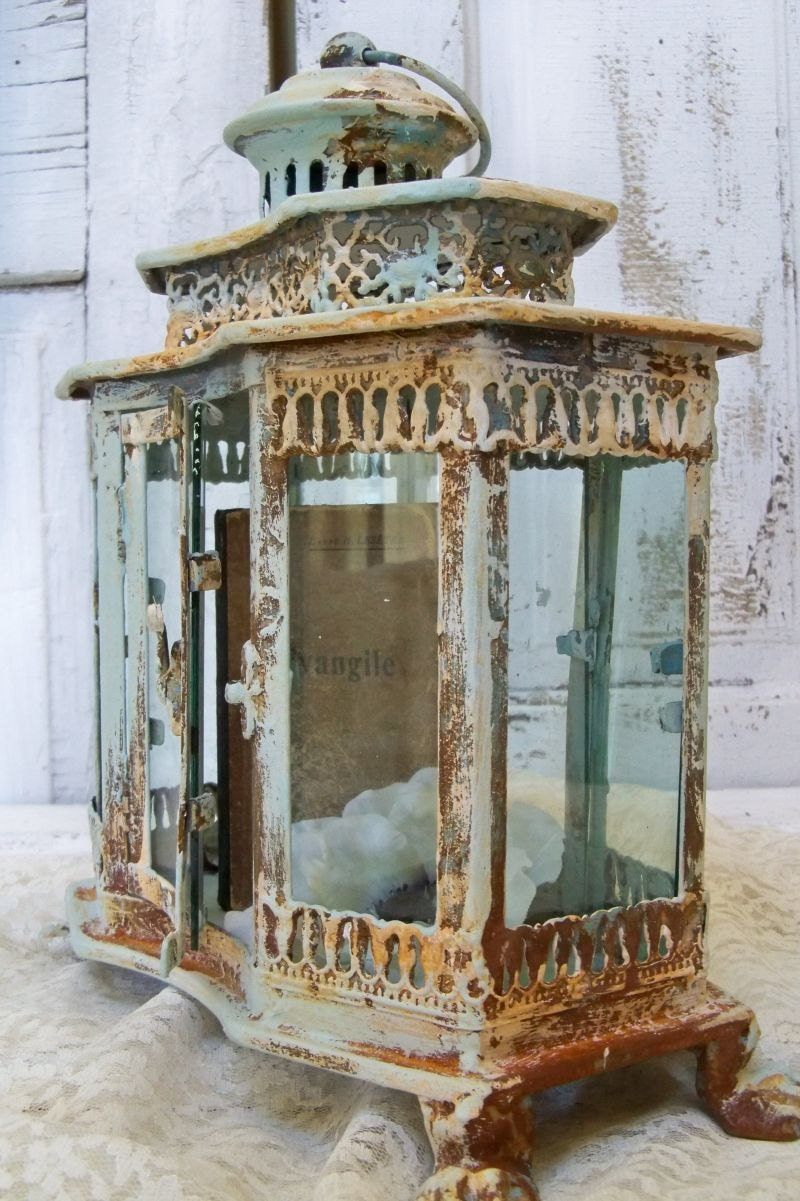 ornate vitrine display case pale blue rusted by. Black Bedroom Furniture Sets. Home Design Ideas