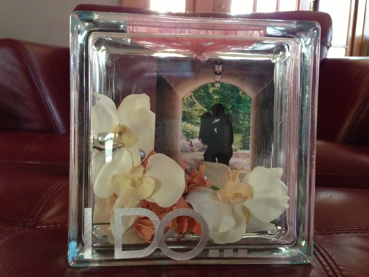 Personalized Wedding Couple Glass Block with Picture and Flowers