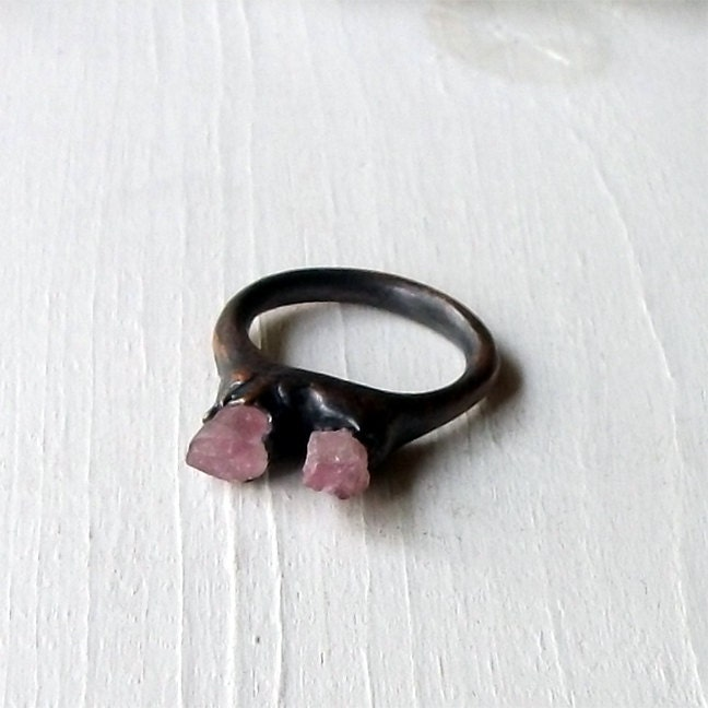 Copper Ring Tourmaline Ring Pale Pink Gem Stone Artisan Handmade - MidwestAlchemy