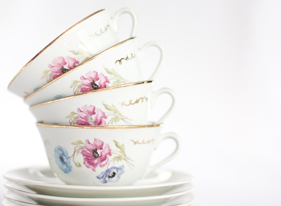 Vintage French Tea Cups Set Porcelain Limoges White Retro Pastel Pink Light Blue Floral Gold Home Decor table christmas tbteam - frenchfelt
