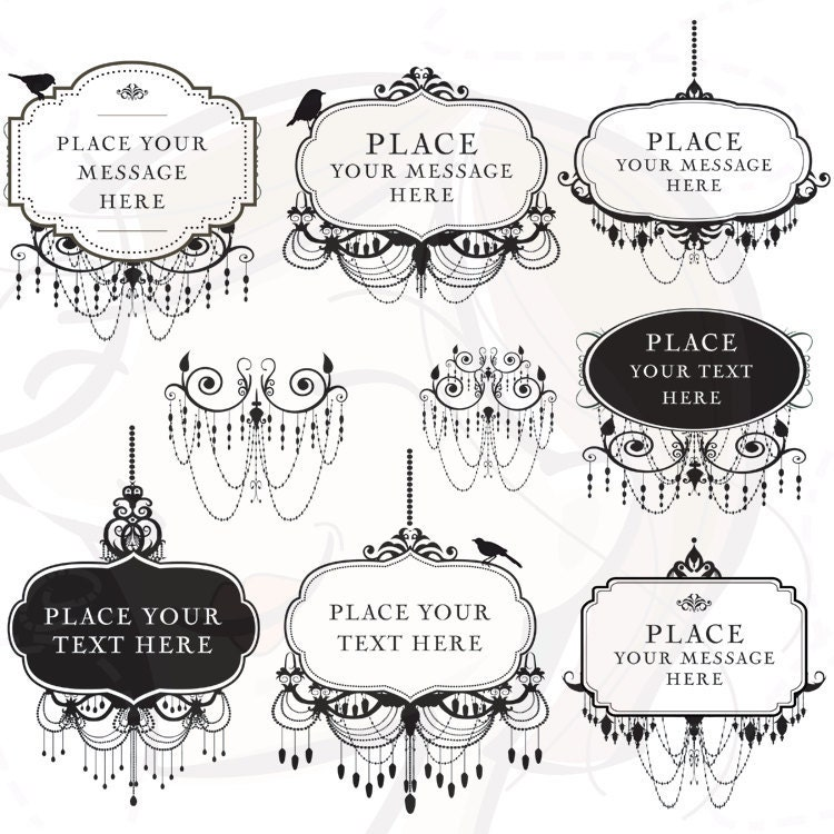 Digital Frame Chandelier Black Ornate Frame Vintage Silhouette Clip Art