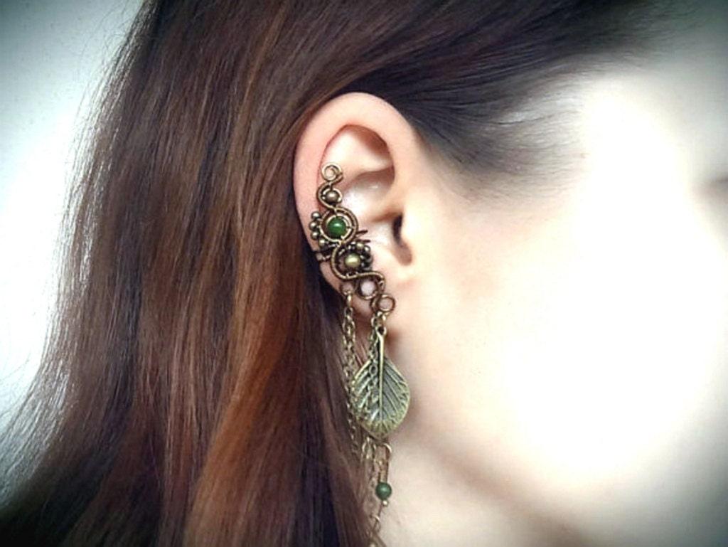 earthy bronze ear cuff cartilage earring unique by
