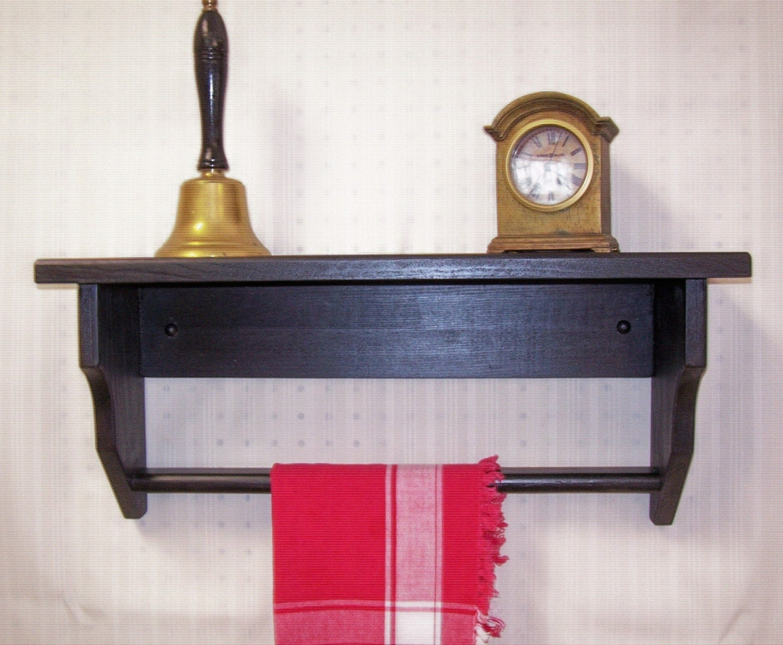 black wood shelf with towel rack and carved by oldtimewoodworks. Black Bedroom Furniture Sets. Home Design Ideas