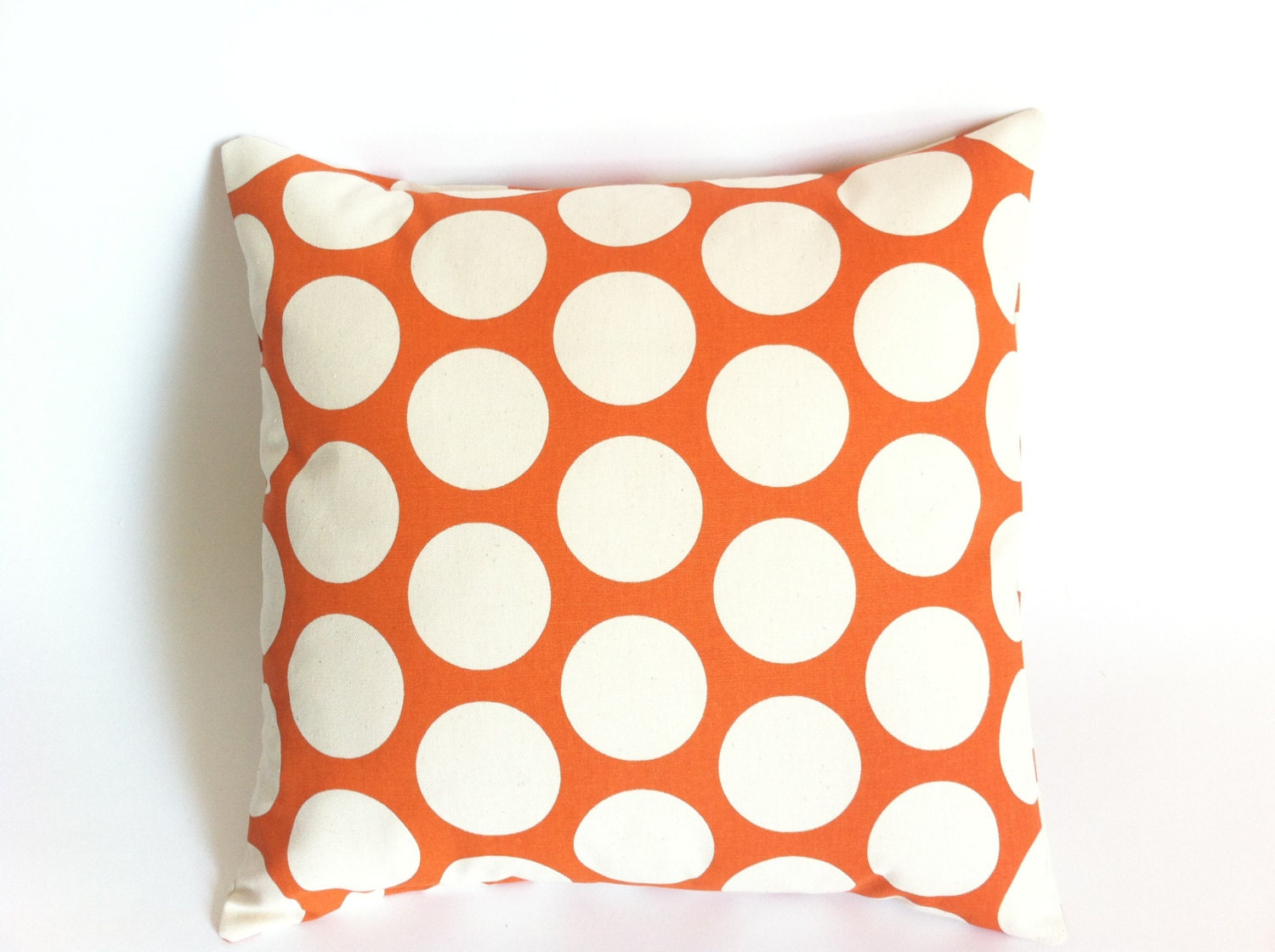 One Decorative Throw Pillow Cover Orange Polka Dot by Pillomatic