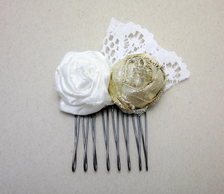 White and Gold Flower Comb - prendasbyenid