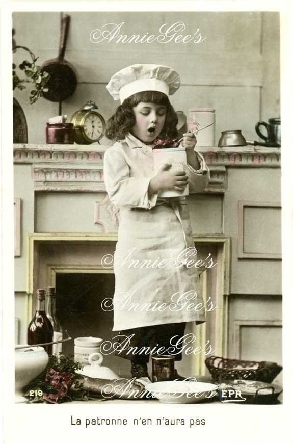 Little Chef, Culinary Theme, Cooking Image - Instant Digital Download Postcard D131A - AnnieGees