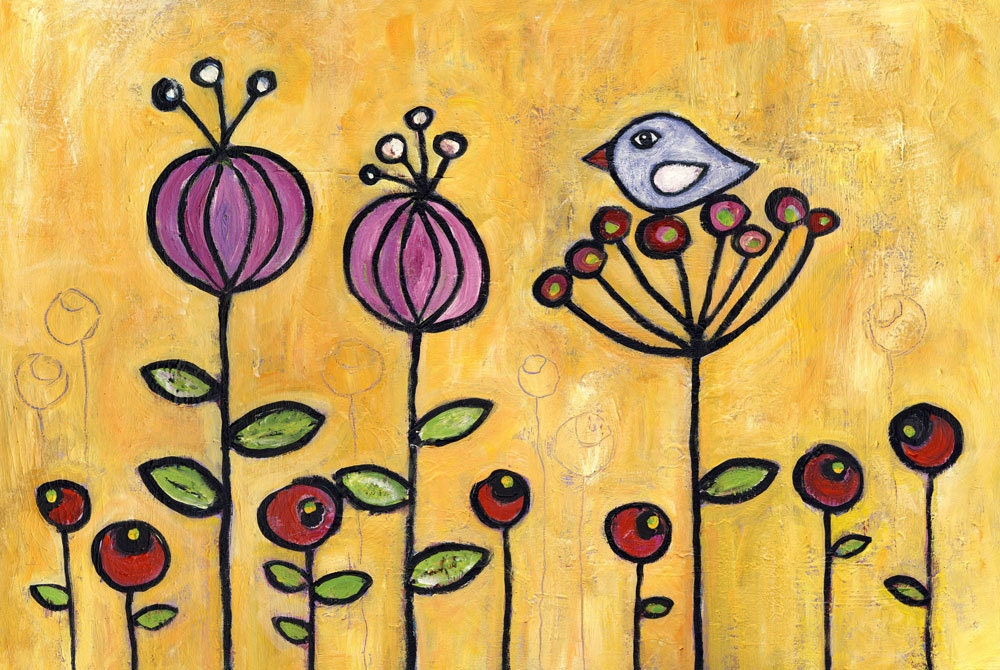 Galilee Wildflowers - folk modern acrylic print