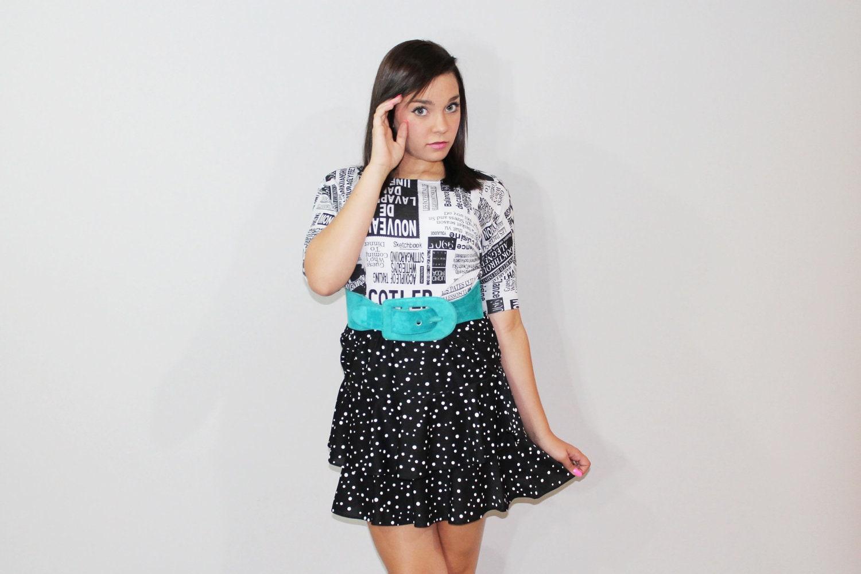 80s Mini Skirt Ruffled Black Polka Dot Medium M Vintage Teen 1980s
