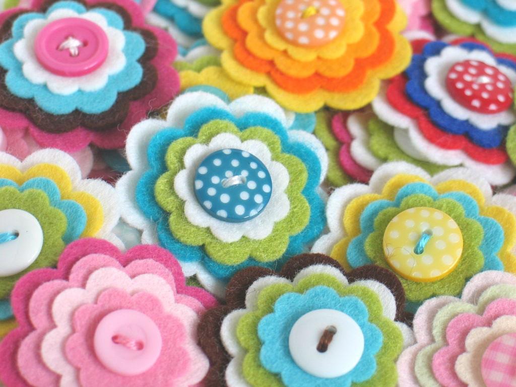 SPECIAL OFFER - 20 x Handmade Felt Flower Embellishments - You Choose