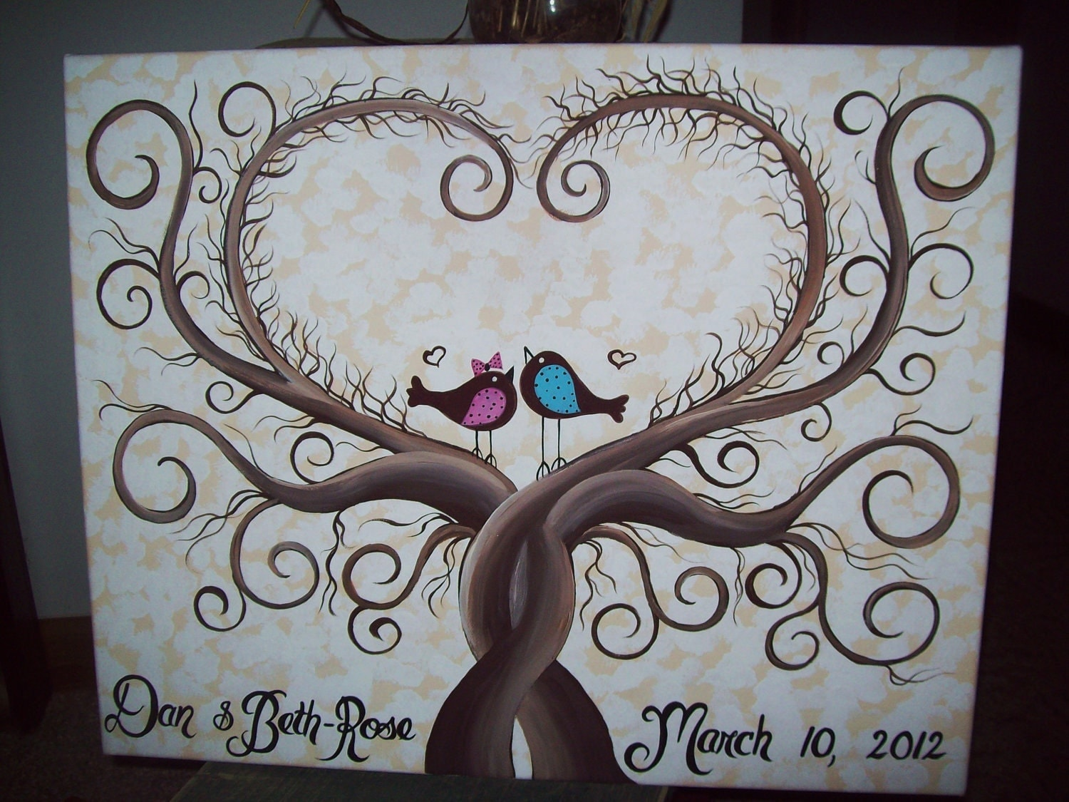 Wedding Guestbook Thumbprint Tree Canvas.....18x 24....165-185 guests...His & Her Lovebirds