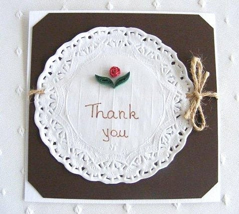Rustic Thank You Quilling Card - quilled roses, doily, rope - RollingIdeas