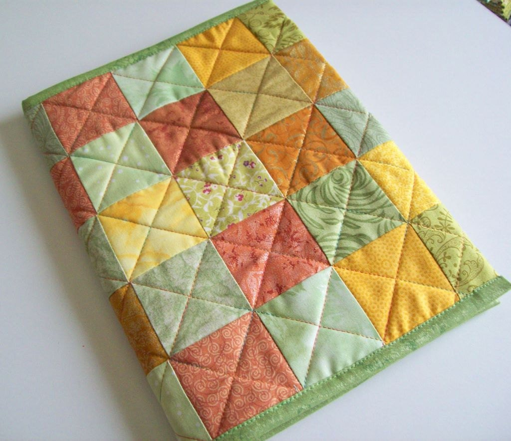 Quilted Journal -Gold and Green Squares Fabric Cover - Pamelaquilts