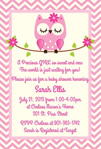 Pink owl baby shower invitation by silverorchidgraphics on for Etsy owl wedding invitations