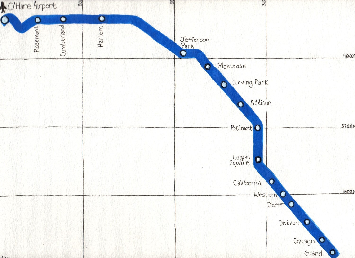 Items Similar To 9X12 Chicago Blue Line CTA Map  ORIGNAL
