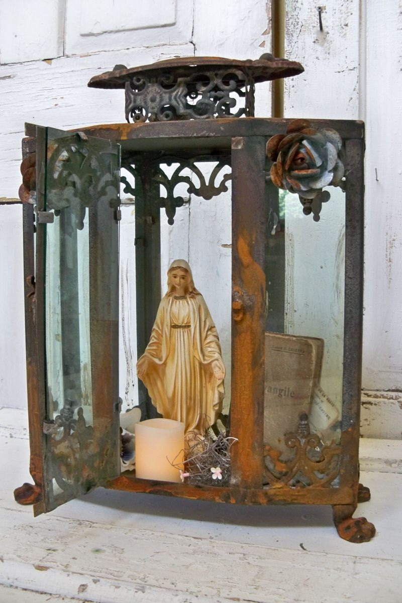 Ornate Display Case Glass Metal Rusted By Anitasperodesign