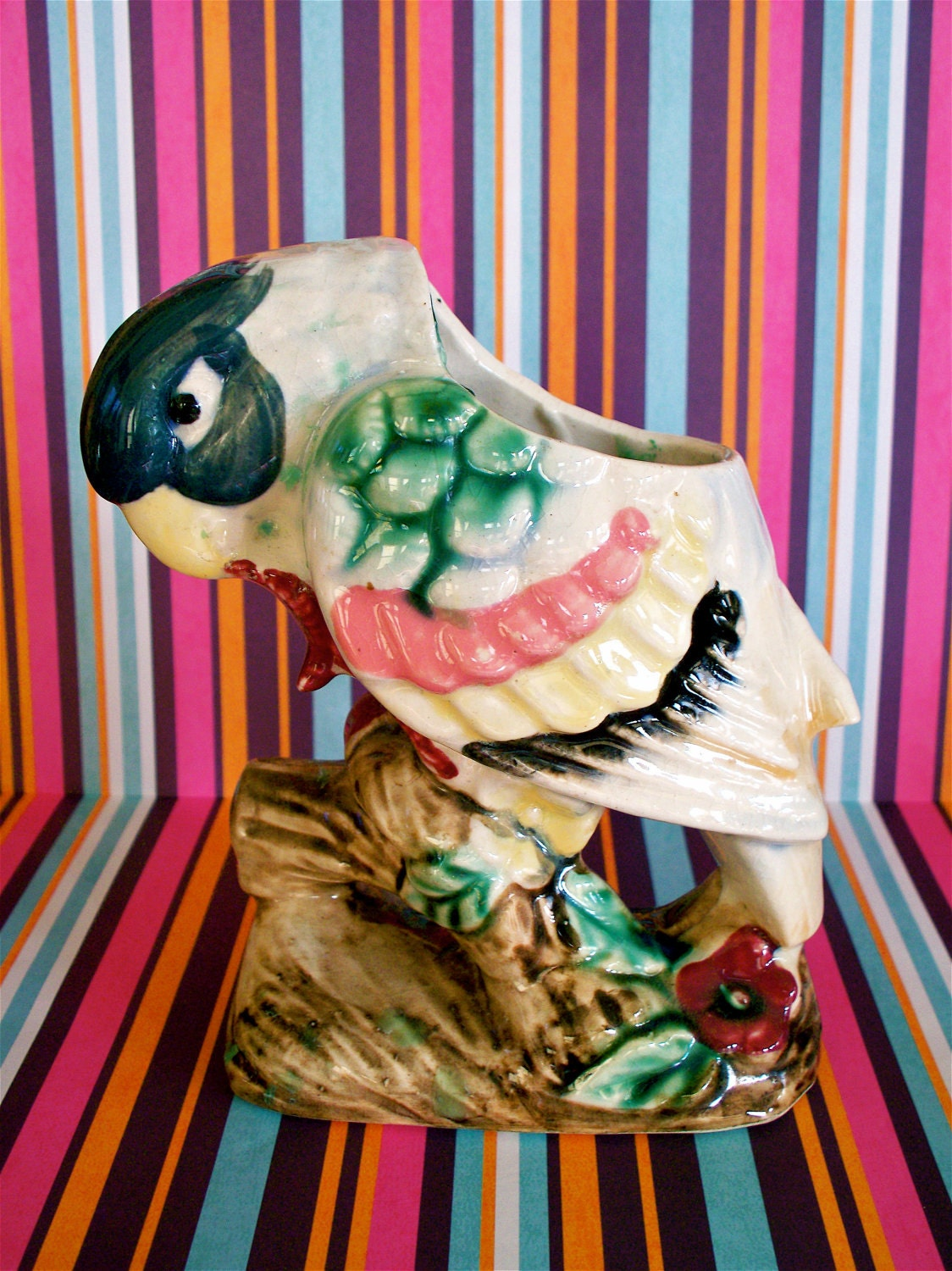 Vintage  Kitsch Colorful 1950s Parrot Planter