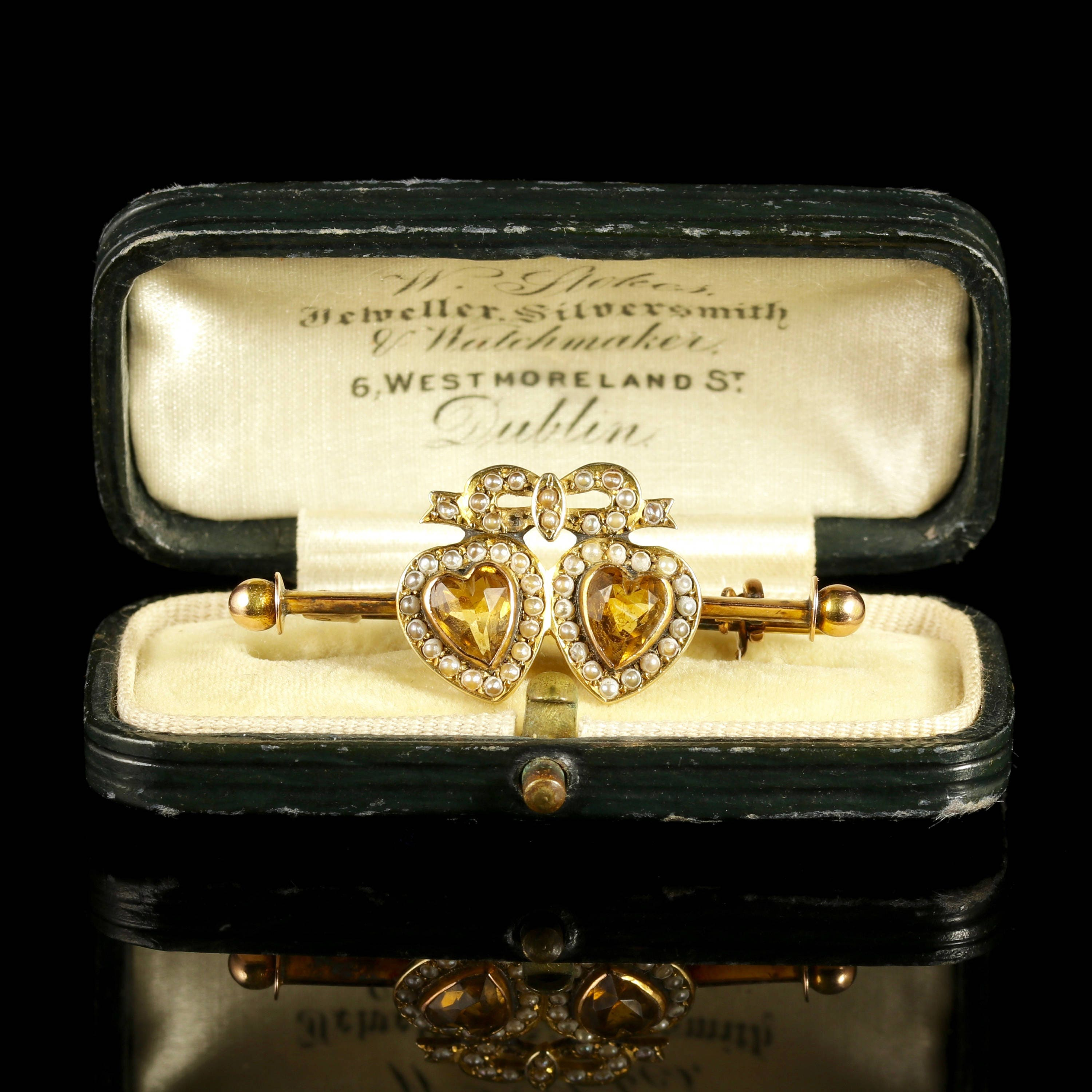 Antique Citrine Double Sweet Heart Pearl Gold Brooch in Original Irish Box