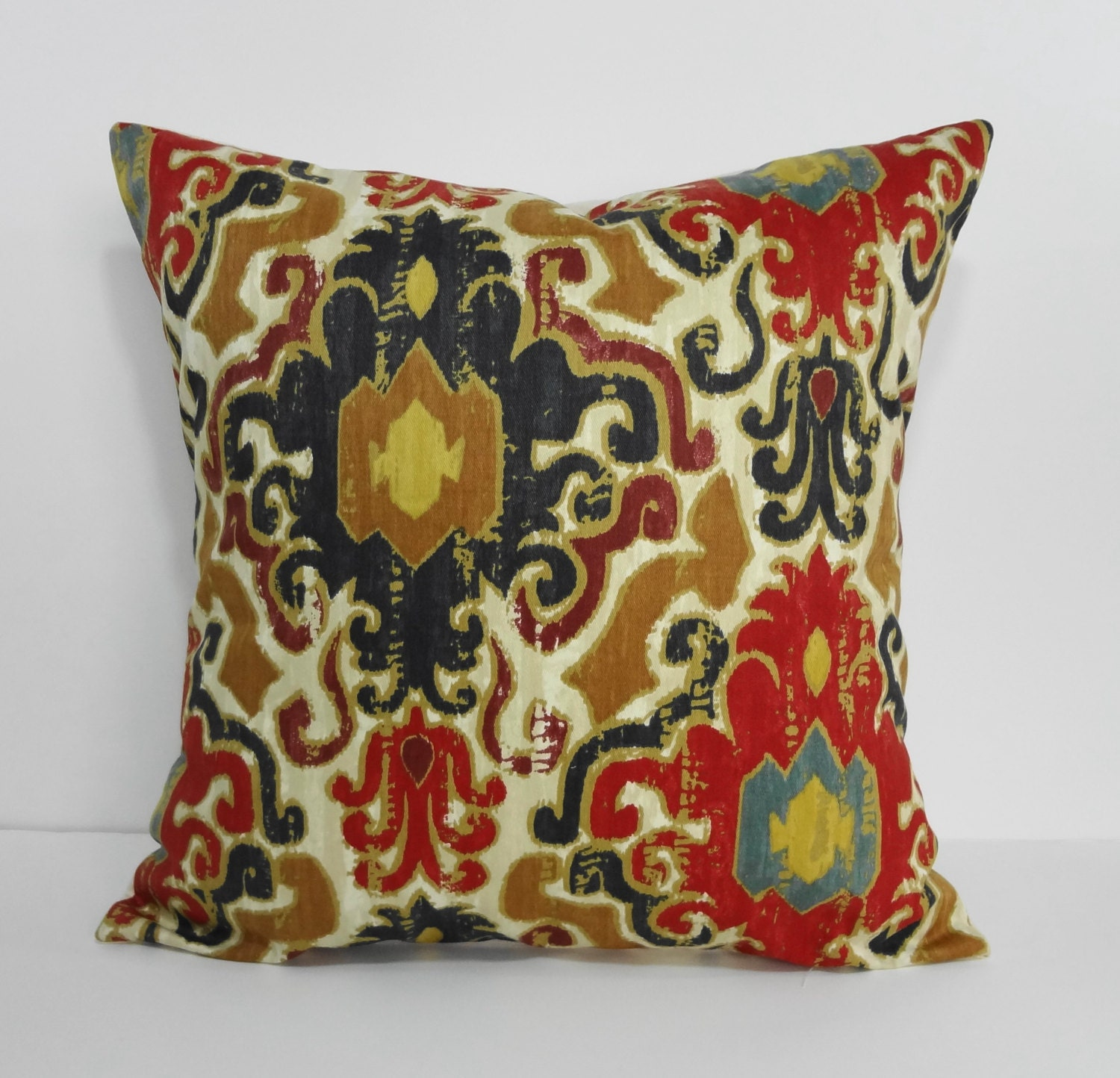 Red And Gold Decorative Pillow : Red Gold and Blue Pillow Cover Throw Accent Pillow by pillows4fun
