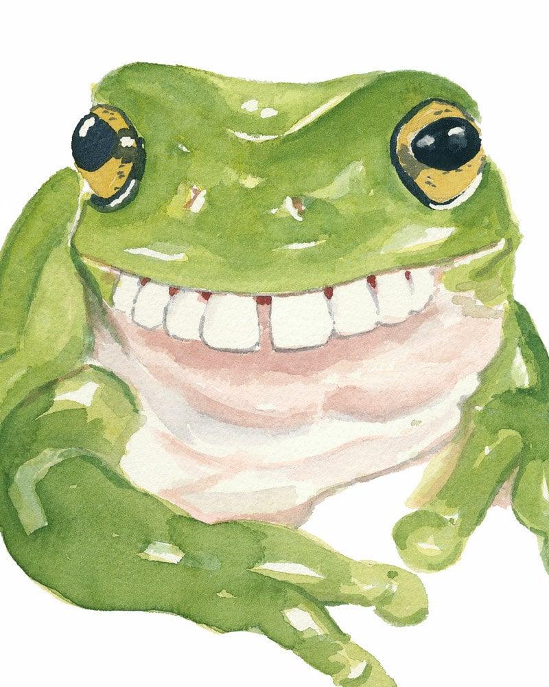 frog watercolour print frog painting gap teeth by