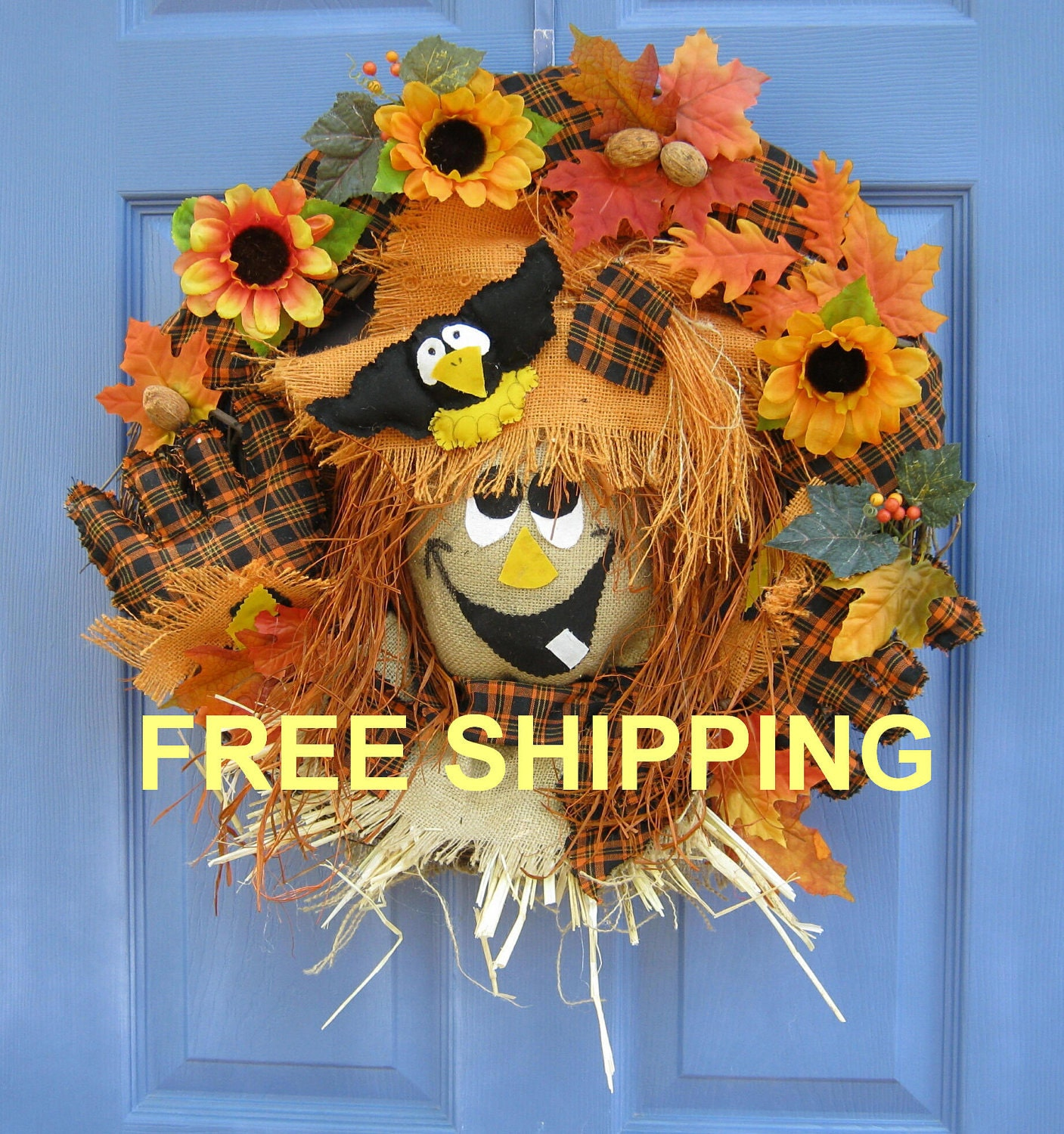 Items similar to fall scarecrow front door wreath thanksgiving holiday wall decoration handmade - Thanksgiving decorations on sale ...