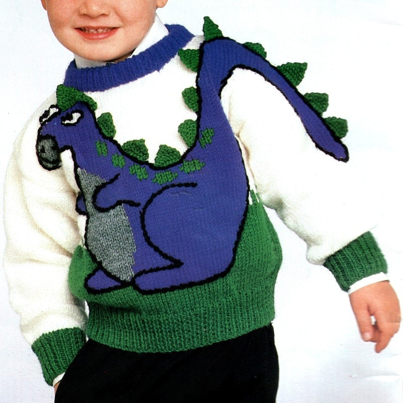 Vintage Dinosaur Knitting Pattern Horse Cat Bunnies by VogueVixens