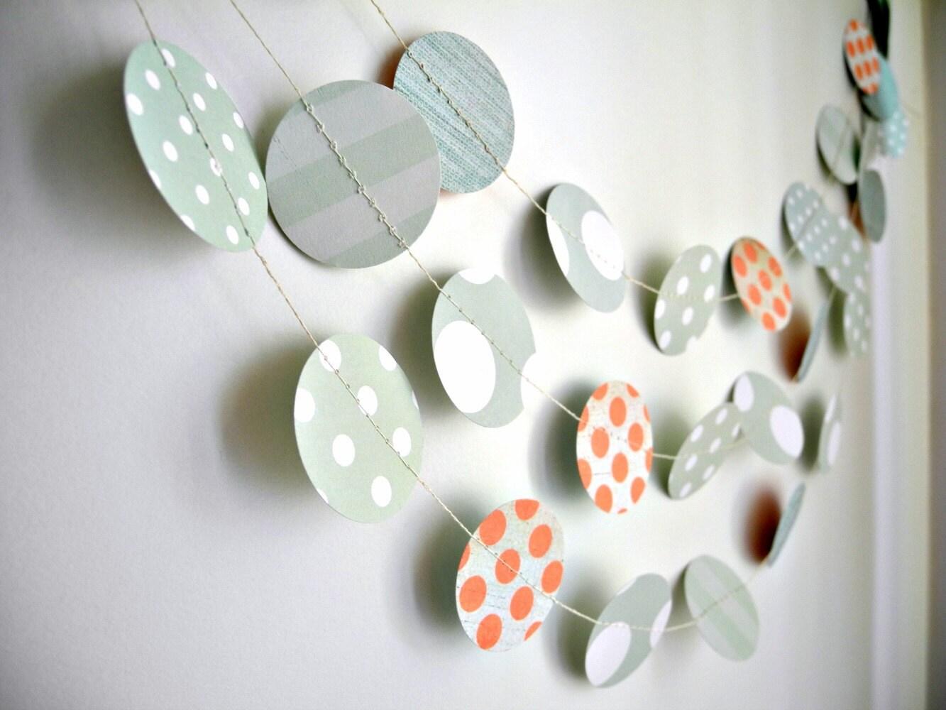 Mint polka dots garland, mint pastel circles garland, mint coral party decor, mint baby shower, birthday mint garland, nursery decor garland - HoopsyDaisies