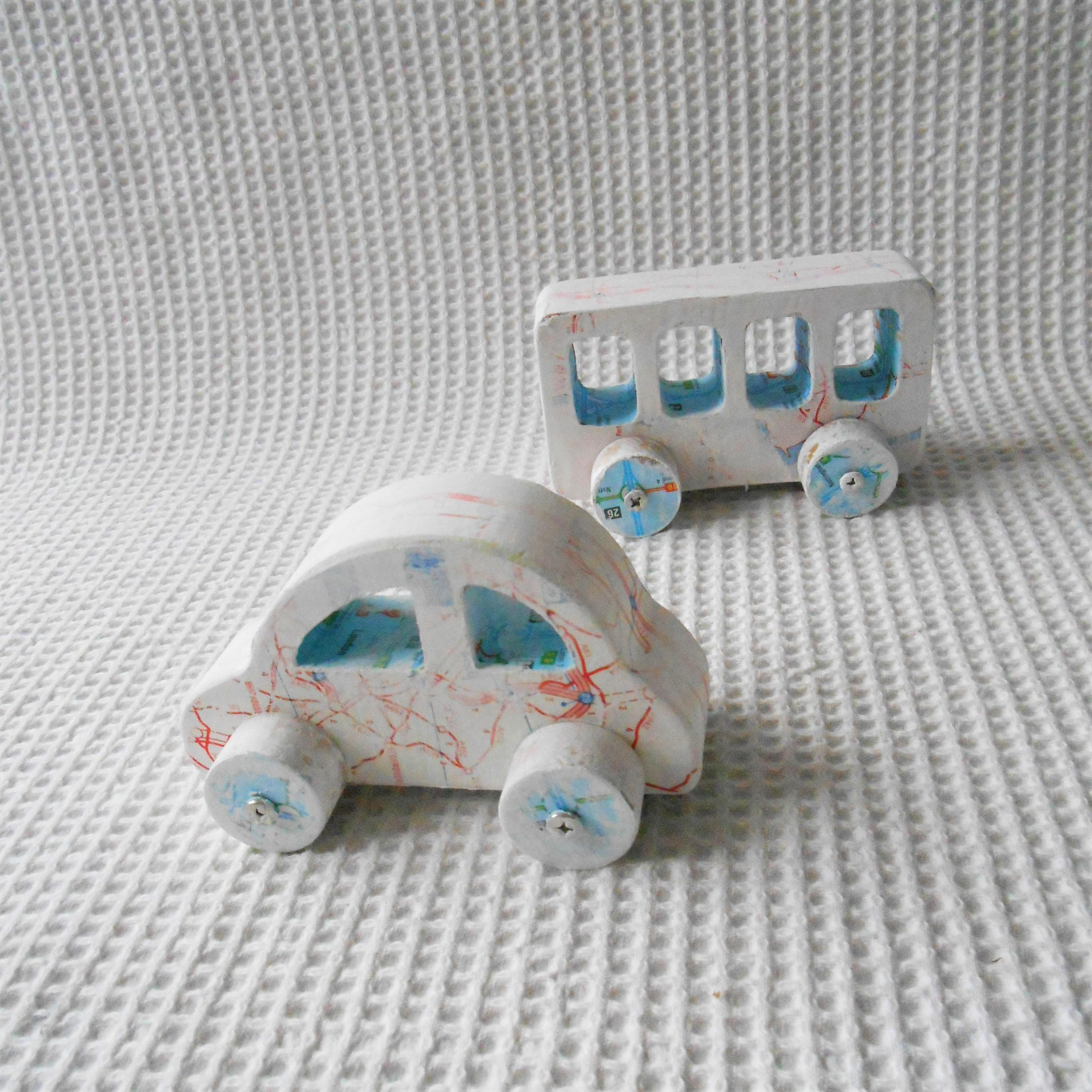 wooden Car and Bus Push Along Toys Childrens Vintage Cottage Shabby Chic Toy