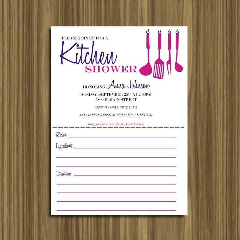 Custom DIY Printable Kitchen Bridal Shower invitation