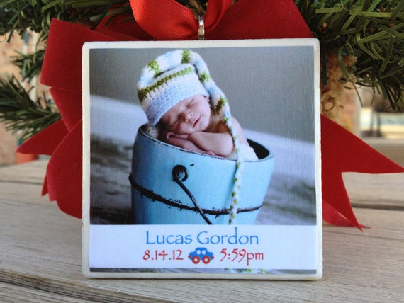Personalized Baby Ornament, 3in x 3in Ceramic Tile