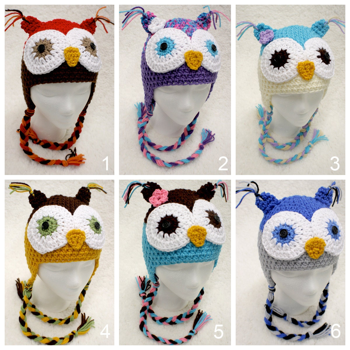 Owl Hat -- Newborn to Adult sizes --- Pick Your Own Colors -- with OR out with FLOWER