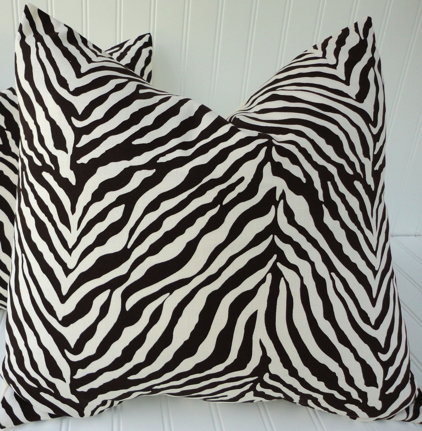 Items similar to Brown Zebra Pillow - 18 x 18 inch OR 16 x 16 inch Throw Pillow - Brown Zebra ...