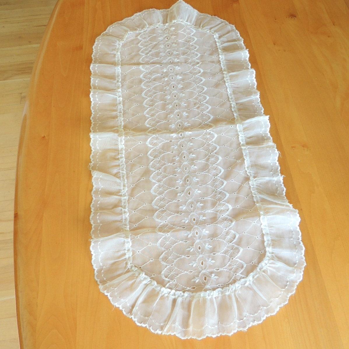 sheer dresser scarf vintage linens table by broadleystreet