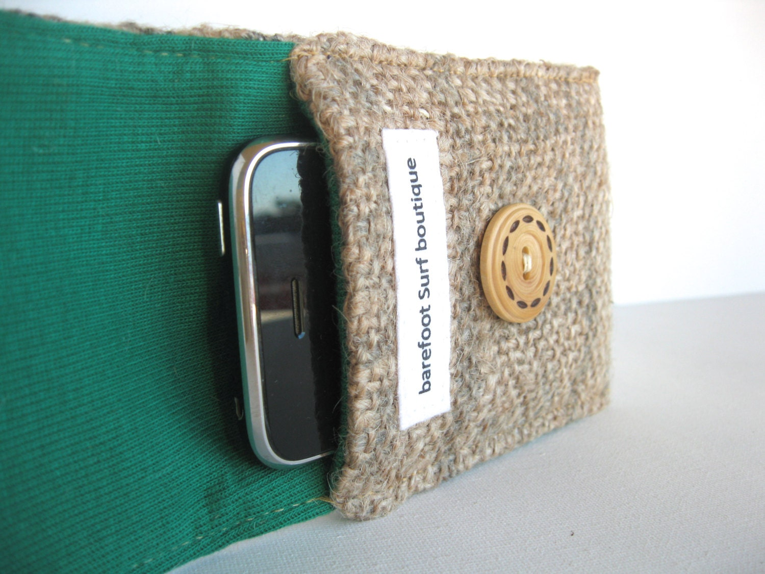 Emerald. Green. Leaf. Eco. Iphone. Cozy. Upcycled. Burlap. Tshirt. Spring Fashion. Earth Day. For Her. Teen. Tween. Gift Idea.