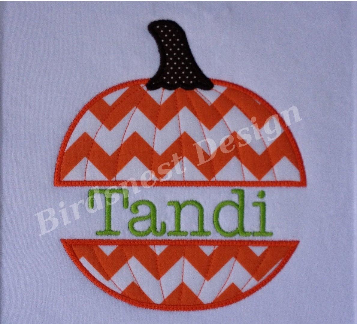 Items similar to split pumpkin applique embroidery design