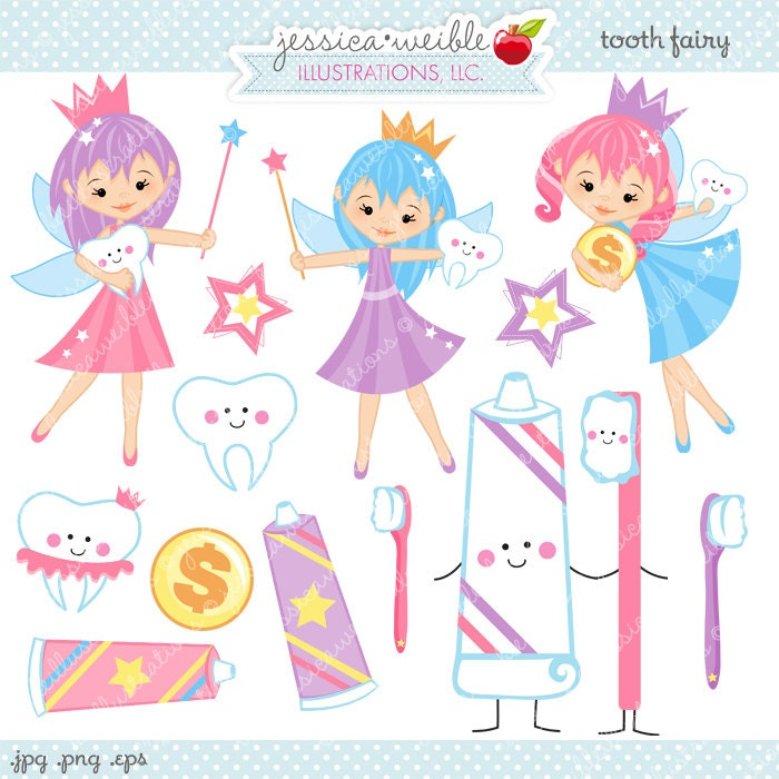 Tooth Fairy Clipart - Commercial Use OK - Tooth Fairy Graphics, Teeth ...
