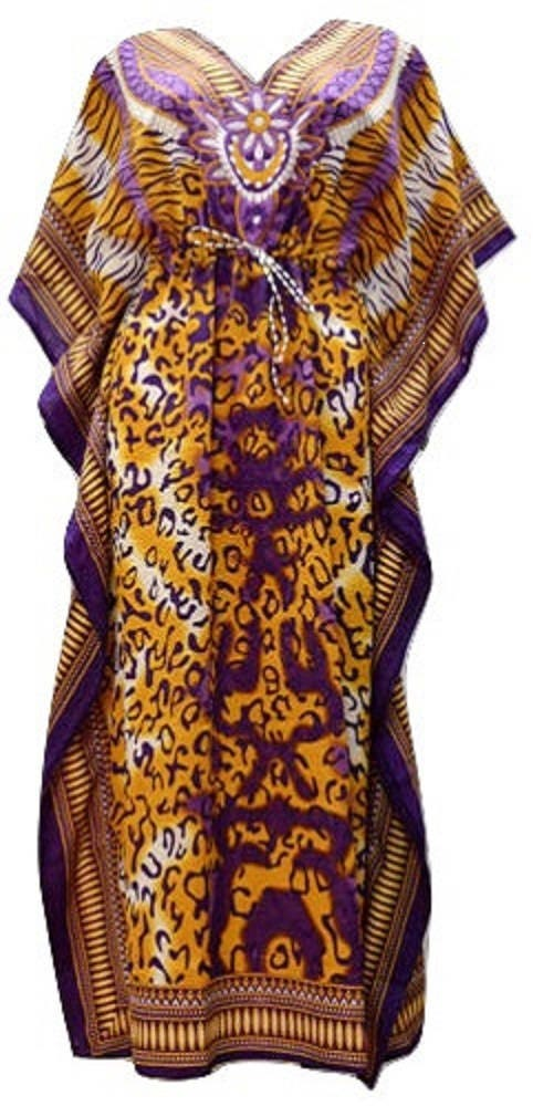 Plus Size Floral SummerFestival Animal Print Drawstring Batwing Sleeve Kaftan Purple