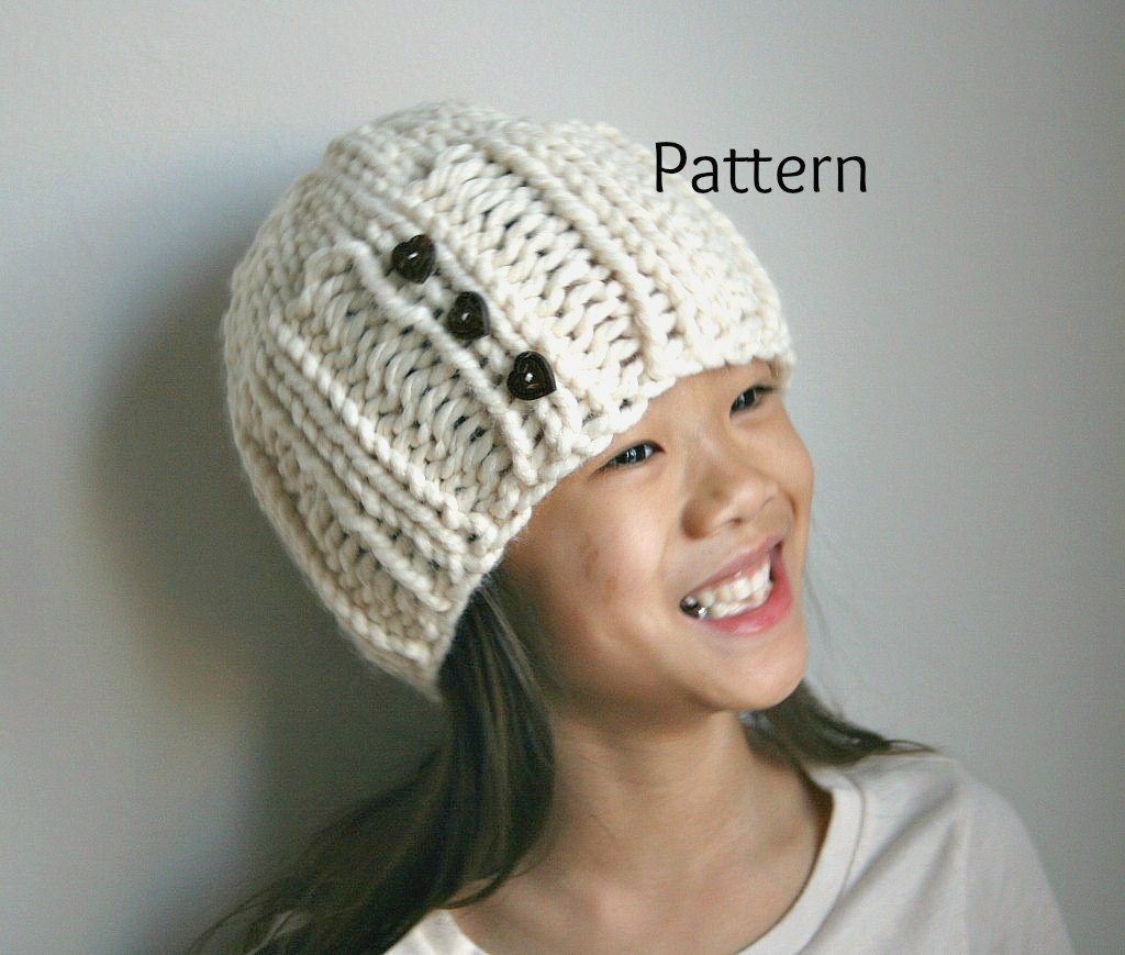 A Knitting Hat Pattern in Child and Adult Sizes PDF Pattern....Snow Tracks - grizzlie
