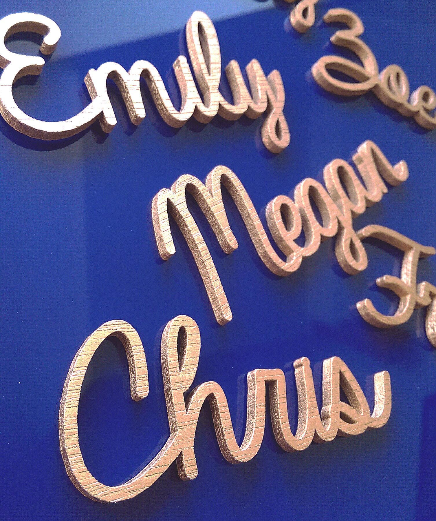Personalised laser cut wooden names for wedding decor. Bride Groom and guest place settings made bespoke to order.
