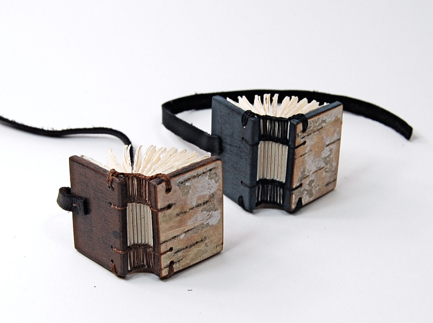 mini birch journal - small handmade wood book - woodland rustic
