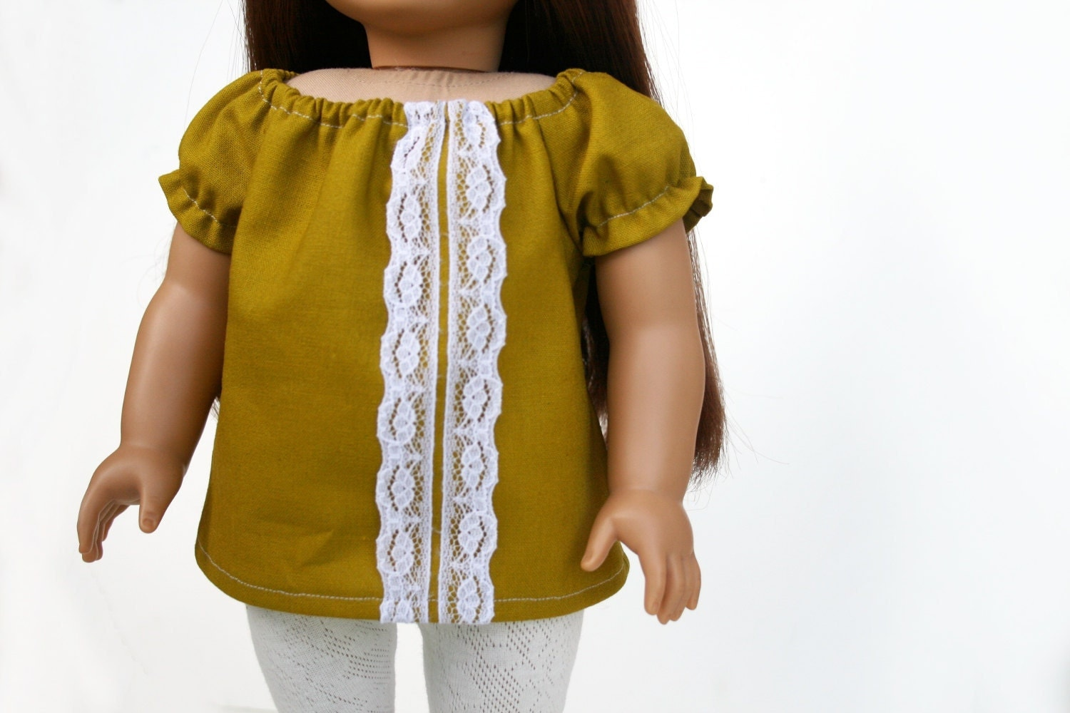 American Girl Doll Clothes - A Peasant Top in Echino Green, Made To Order