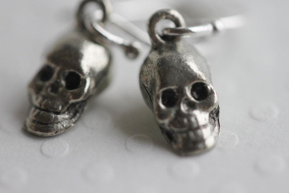 Scary Cute Skeleton Earrings Sterling Skeleton Skull Earrings Silver Skull Earrings - madebymoe