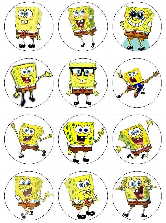 Items similar to 12 Spongebob Cupcake or cookie toppers ...