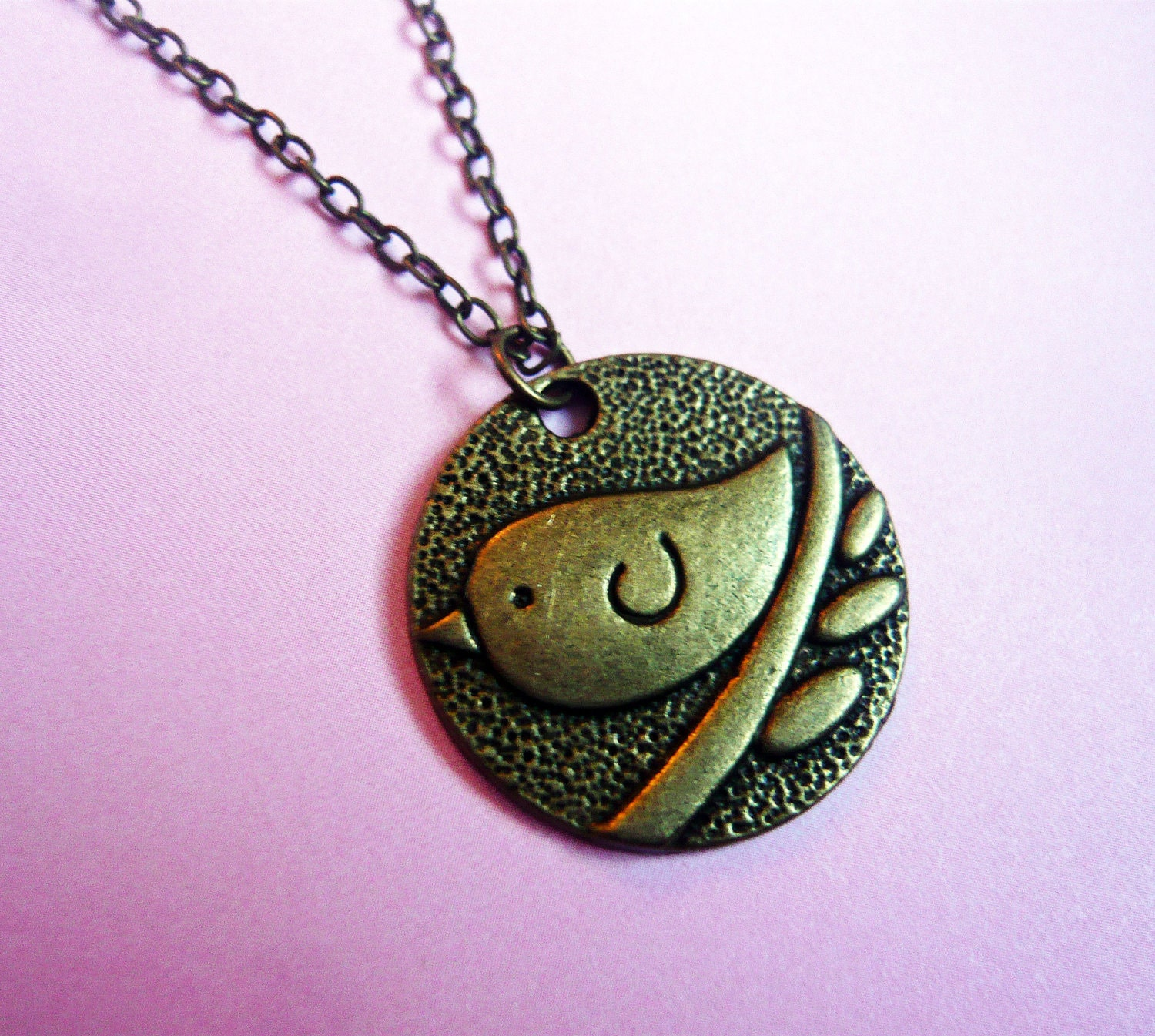 Adorable Bird Bronze Necklace by MaruMaru on Etsy